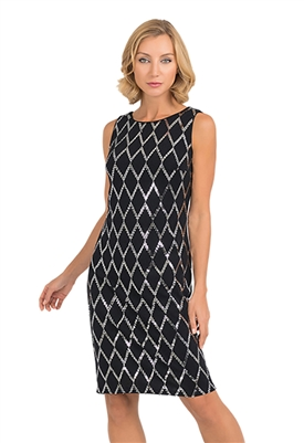 Joseph Ribkoff Sleeveless Shift Dress in Black & Silver