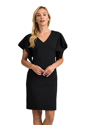 Joseph Ribkoff Tiered Flounce Sleeve Dress in Black