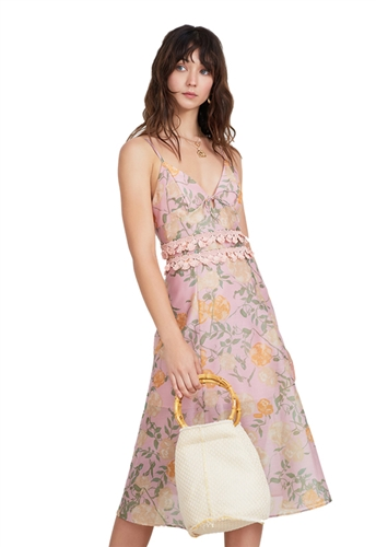 Finders Keepers Meadows Midi Dress in Petal Rose
