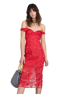 Finders Keepers Spectrum Midi Dress in Red