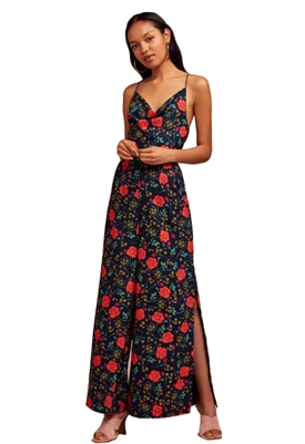 Finders Keepers Hana Wide Leg Pantsuit in Navy Floral