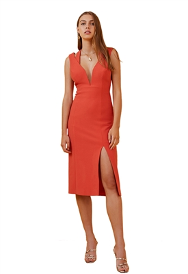 Finders Keepers Lines Midi Dress in Red
