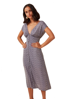 Finders Keepers Catalina Midi Dress in Navy