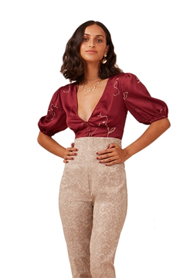 Finders Keepers Cristina Crop Top in Cherry Sketch