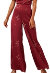 Finders Keepers Cristina Wide Leg Pant in Cherry Sketch
