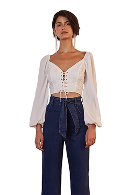 Finders Keepers Honeymoon Long Sleeve Crop Top in Ivory