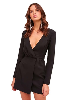 Finders Keepers Victoria Long Sleeve Mini Dress in Black