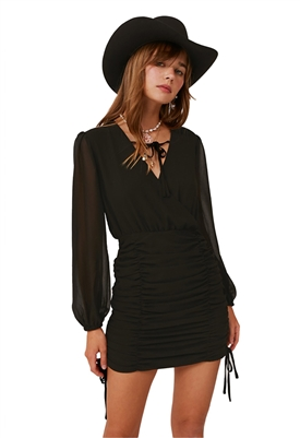 Finders Keepers Pia Long Sleeve Mini Dress in Black