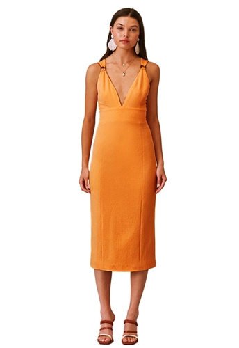 Finders Keepers Effy Midi Dress in Apricot