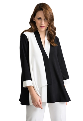 Joseph Ribkoff Color Block Swing Jacket in Black & White