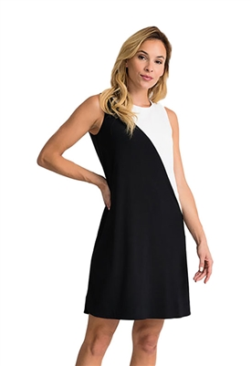 Joseph Ribkoff Color Block Sleeveless Dress in Black & White