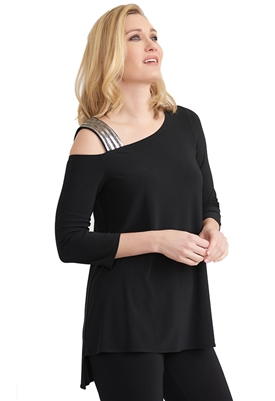 Joseph Ribkoff Sparkle Strap Tunic Top in Black