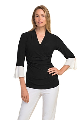 Joseph Ribkoff Wrap Front Blouse in Black & White