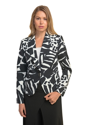 Joseph Ribkoff Print Jacket in Black & White