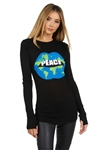 Lauren Moshi McKinley World Peace Lips Thermal Tee in Black