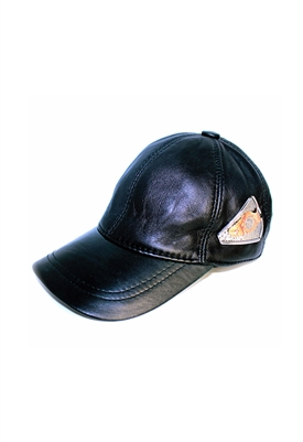 Sibilla G Pyramid Black Leather Baseball Cap
