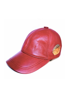 "Sibilla G ""Sunrise"" Red Leather Baseball Cap"