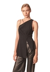 Allen Schwartz Alice One Shoulder Top in Black