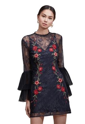 Keepsake Dreamscape Lace Dress in Navy
