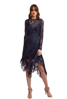 Keepsake Hold On Long Sleeve Dress in Navy