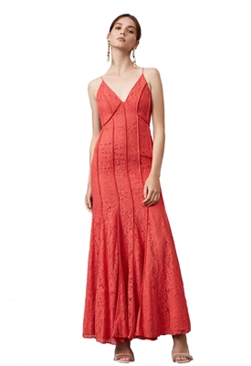 Keepsake Dreamers Lace Gown in Pop Red