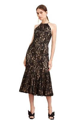 Keepsake Dreamers Lace Midi Dress in Black