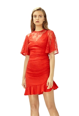 Keepsake Get Free Lace Mini Dress in Scarlet Red