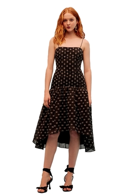 Keepsake Call Me Midi Dress in Black Spot