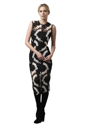 Karina Grimaldi Maura Lace Dress in Black & White Floral