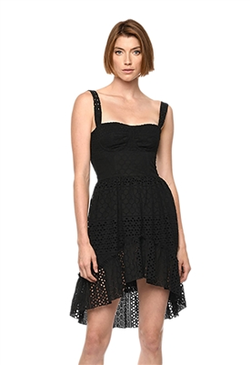 Karina Grimaldi Rosi Eyelet High Low Dress in Black