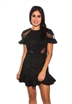 Karina Grimaldi Lila Lace Mini Dress in Black