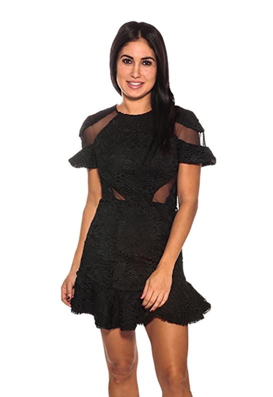 3d5f0bfd4f Karina Grimaldi Lila Lace Mini Dress in Black