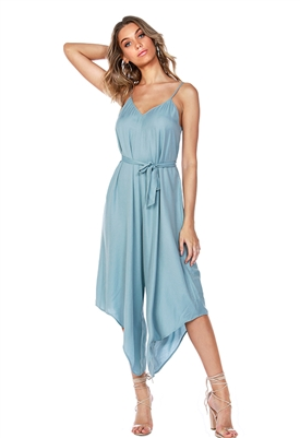 Bobi Black Flowy Belted Jumpsuit in Light Blue