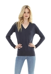 Bobi V Neck Rib Mix Sweater in Black