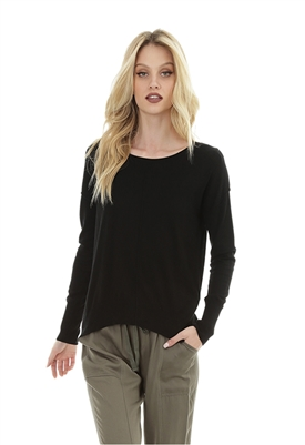 Bobi Black Drop Sleeve Sweater in Black