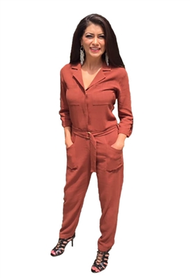 Bobi Black 3/4 Sleeve Pocket Jumpsuit in Rust