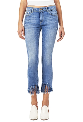 DL1961 Mara Ankle Mid Rise Straight Jean with Fringe Hem in Upstate