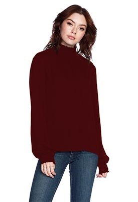 Bobi Long Sleeve Mock Neck Puff Sleeve Blouse in Wine