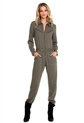 Bobi Black Zip Up Flight Jumpsuit in Army