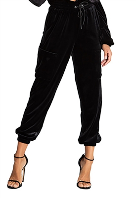n:Philanthropy Rou Velvet Jogger Pant in Black Cat