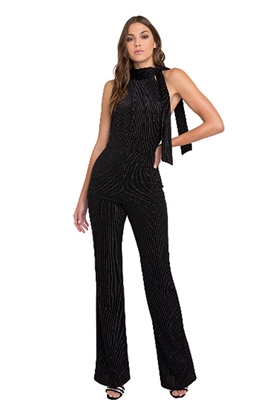 Black Halo Audrey Metallic Stripe Velvet Jumpsuit in Black