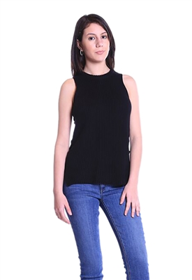 Acrobat Side Lace-Up Sleeveless Sweater in Black