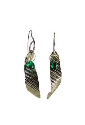 Sibilla G Dangling Emerald Curves Stainless Steel Earrings