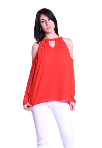 Landa by Dora Landa EM Cold Shoulder Top in Ruby