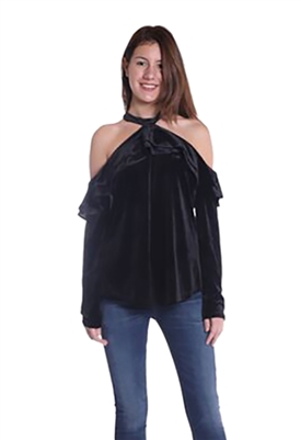 Landa by Dora Landa Morgan Ruffle Cold Shoulder Top in Black