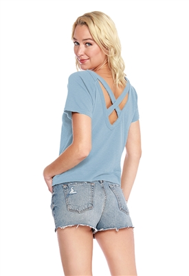 Bobi Cross Back Short Sleeve Top in Water