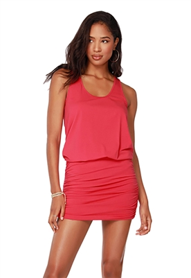 Bobi Shirred Drop Waist Tank Dress in Chili
