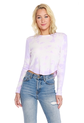 Bobi Long Sleeve Tie Dye Crop Tee Shirt in Lilacs