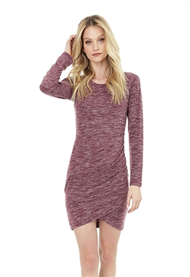 Bobi Long Sleeve Side Shirred Mini Dress in Wine