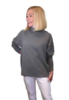 Bobi Mock Neck Raglan Long Sleeve Top in Charcoal